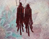 Garnet Seed Bead Earrings
