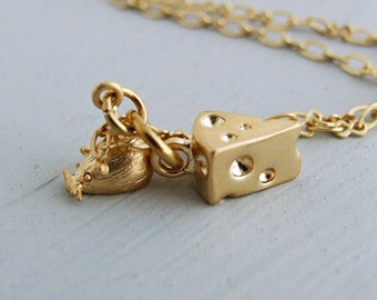 Mouse and Cheese Necklace .. mouse pendant, gold necklace, cheese, cute necklace, animal jewellery, rodent