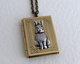 Rabbit Locket .. large locket, book locket, brass locket, layering necklace