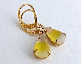 Yellow Opal Earrings .. yellow an white earrings, teardrop earrings, small earrings