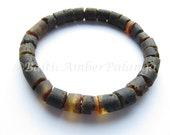 Raw Unpolished Black Baltic Amber Bracelet. For Adults