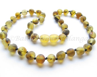 Raw Unpolished Light Green Baltic Amber Baby Teething Necklace