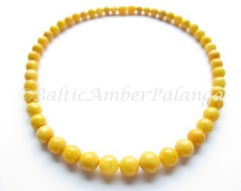 Baltic Amber Necklace, Vintage Color Round Beads