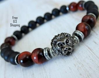 Men's bracelet, Lion bracelet, Red tiger eye, Tribal bracelet, Onyx bracelet, Men's Mala, Protection, Healing mala, mala beads, lion