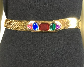 Vintage Belt 80s Gold Coin Stretchy Belt small to medium