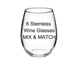 ANY 6 GLASSES - Your Choice - Mix & Match
