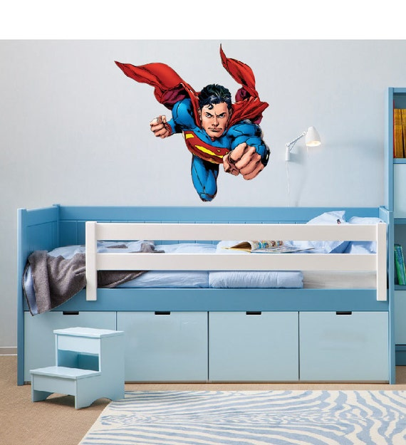 superman wall decal boys bedroom decor super hero wall art peel and