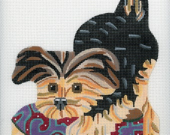 Hand Painted Needlepoint Yorkshire Terrier Puppy Canvas - Black and Blond - Needlepoint Dog - Yorkie