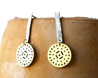 Tribal earrings - silver and brass earrings - circle earrings - dangle earrings
