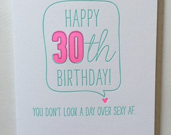 30th birthday card Funny Card for 30th birthday - Letterpress 30th or 40th birthday card - Sexy AF card Birthday Card DeLuce