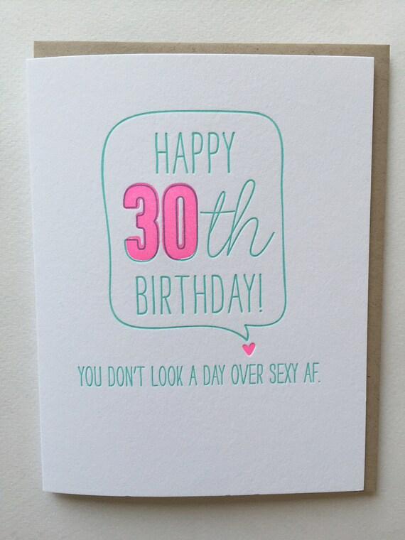 30th birthday card Funny Card for 30th birthday Letterpress – Birthday Card 30th