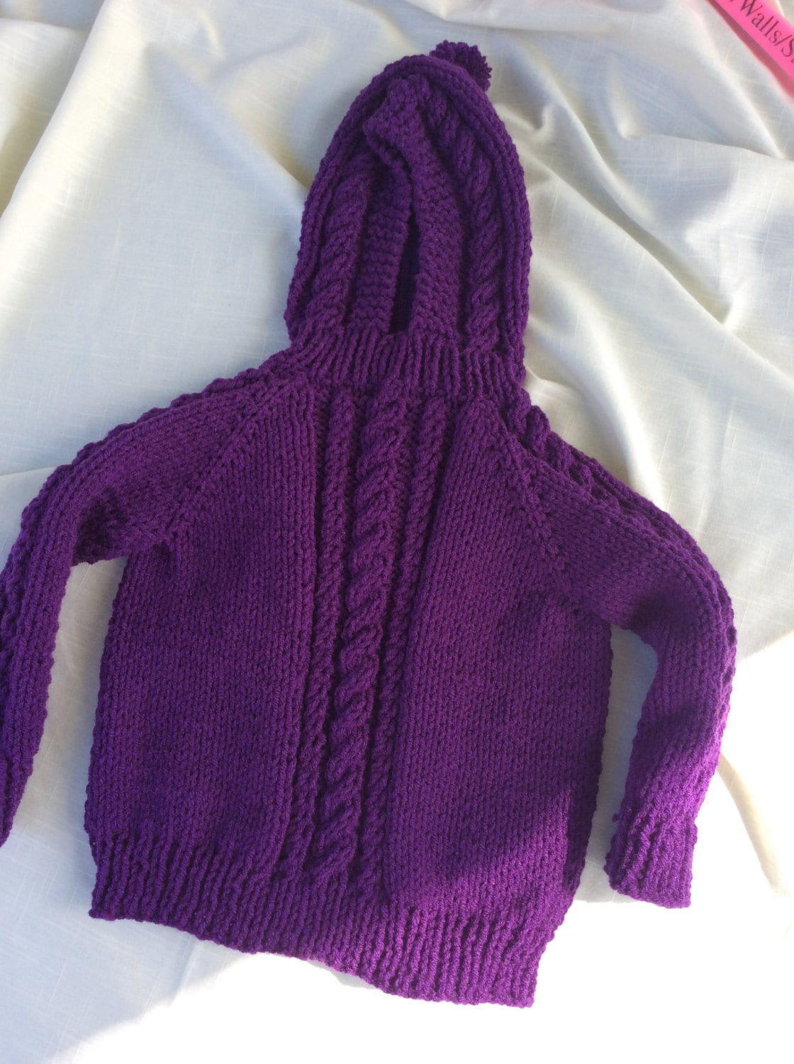 Purple Hand knit Baby Hoodie with Zipper up the by ...