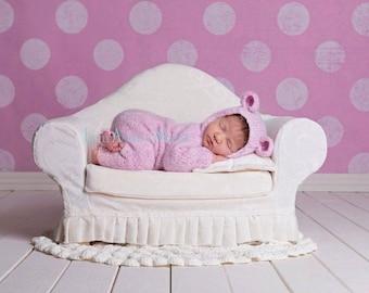 Bear Hooded Onesie, Newborn Size, Photo Prop