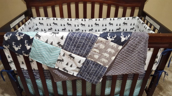 Baby Boy Crib Bedding Navy Buck Moose Gray Bear Aqua