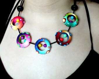 Five Nidos Polymer Clay Necklace.
