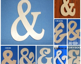 """9"""" AMPERSAND, """"&"""", AND Unpainted Wooden Shapes Wall Hanging Room Decor Family Crafts"""