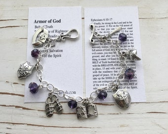 Armor of God Handmade Charm Bracelet, With CRYSTALS, and Card with Bible Verse, by Okrrah FREE SHiPPING