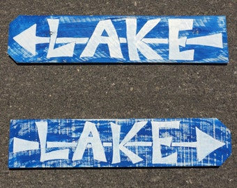 Wood Sign Wall Decor - LAKE w/arrow (one sign)
