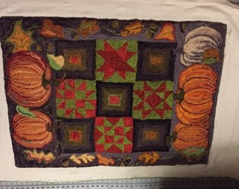 Pumpkins and Patchwork Rug Hooking Pattern