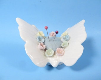 Vintage White Porcelain Butterfly Pin Cushion - Vintage White Ceramic Butterfly Pin Cushion