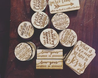 Wood Engraved Magnets (Customization available)