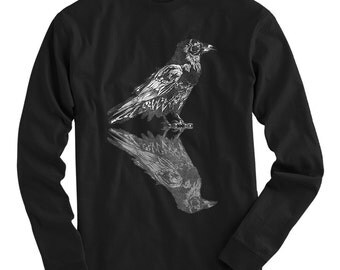 LS Dual Raven Tee - Long Sleeve T-shirt - Men S M L XL 2x 3x 4x - Horror, Crow, Bird, Nature - 3 Colors