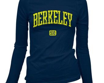 Women's Berkeley 510 Long Sleeve Tee - S M L XL 2x - Ladies' Berkeley T-shirt, Bay Area, California, Cal - 4 Colors