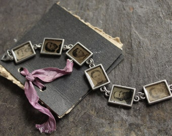 Tintype Bracelet, antique, vintage, memento mori, gothic, steampunk, victorian jewelry early photography repurposed up cycled