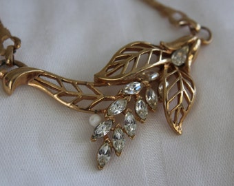 Rhinestone and Gold Necklace