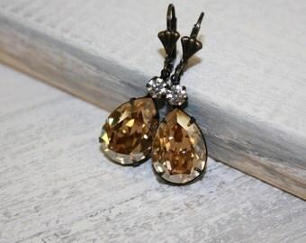 Light Colorado Topaz Crystal Earrings, Hollywood Glam, Estate Style Swarovski Crystal