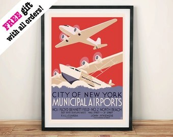 NEW YORK POSTER: Vintage Airports Poster Advert, Art Print Wall Hanging
