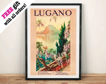 LUGANO TRAVEL POSTER: Vintage Swiss Lake Advert Art Print Wall Hanging (A4 / A3)