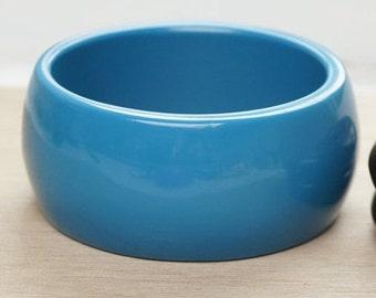 BIG SUMMER SALE Big Chunky Bangle - Chunky turquoise colored vintage bangle - big bold turquoise blue chunky vintage bangle - blue vintage b