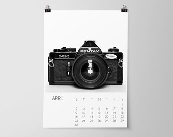 SALE, 2017 Desk Calendar, Vintage Cameras, Black and White, Wall Calendar, Office Decor, Gift for Photographers, Gift Idea, Paper Goods