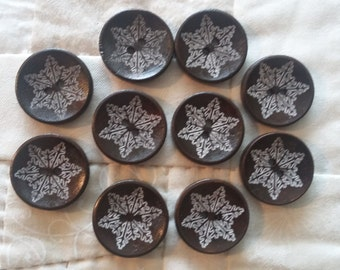 Snowflake buttons,  wood buttons, dark brown wood buttons, set of wood buttons, 10 wood buttons