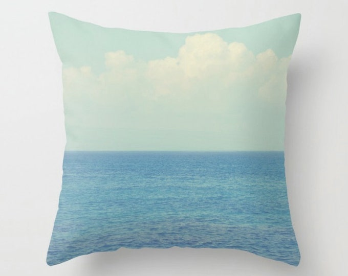 Ocean Ombre, White Blue Ombre Decor -  Cushion Pillow Cover only - Home Decor Throw Pillow - Beach Summer Days