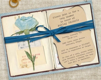 Library Baby Boy Shower Book with Blue Rose and Ribbon Digital Printable File with Professional Printing Option