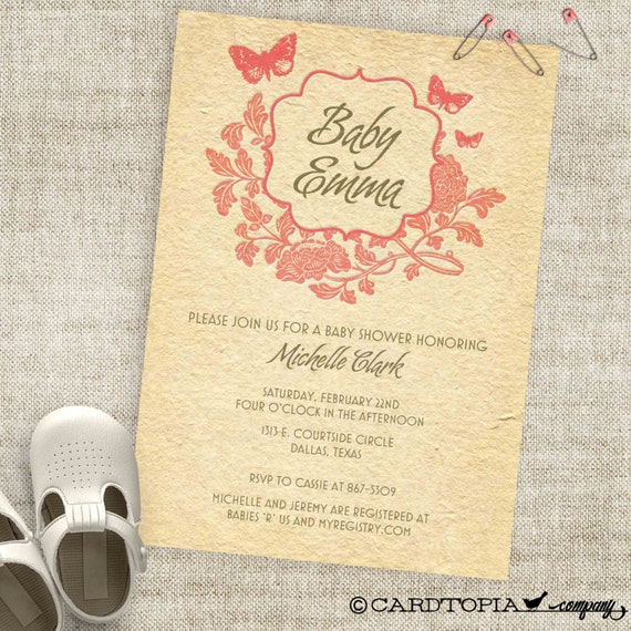 Vintage Baby Shower Invitation with Rustic Roses and Butterlies and Letterpress Look Custom Invites with Professional Printing Option