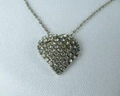 Vintage prong set rhinestone heart pendant necklace