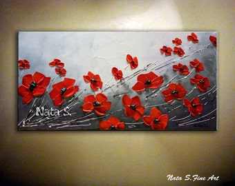 Red Poppy Painting, Poppies Field, Wild Poppy, Seasons, Abstract Poppy Art, Palette Knife, Home Decor, Gift, Red Black White Art by Nata S.