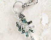 Wine Charm Keychain - Purse Jewelry - Belt Clip Keychain - Teal Car Accessory - Beaded Keychain - Gift for Wine Lover