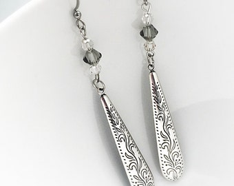 SALE - Silver Earrings - Hypoallergenic - Antique Silver Earrings - Very Long Earrings - Dressy Earrings - Long Dangle Earrings