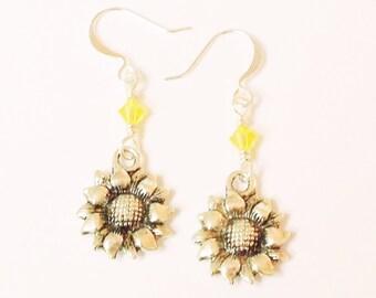 Sparkly Sunflower Earrings - Yellow Swarovski Crystal Dangle Dangly Fishhook Earrings with Tibetan Silver Flower Charm