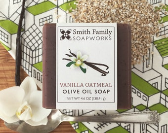 Vanilla Oatmeal Soap -  Handmade Soap, Olive Oil Soap, Natural Soap Bar, Cold Process Soap