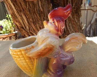 Ceramic Rooster Planter  ~  1940's Figural Farmer Rooster Ceramic Planter