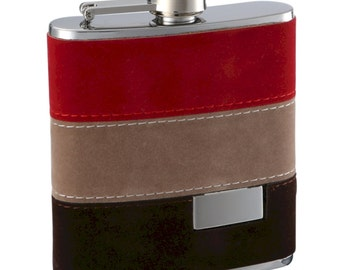 6 ounce Red, Tan and Dark Brown Fuzzy Flask