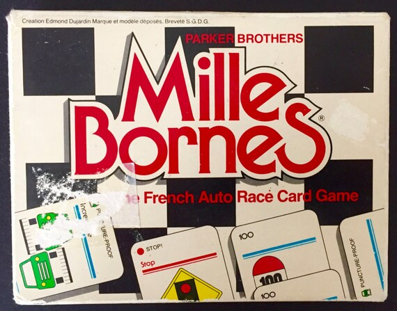 1982 vintage french auto race mille bornes playing card game. Black Bedroom Furniture Sets. Home Design Ideas