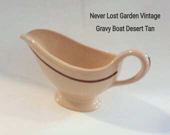 Desert Tan Sterling China Gravy Boat Cream and Red Stripe Restaurant Ware Vintage