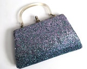 Vintage 1950s Glitter Clutch Purse - Handbag - Bag - Rockabilly - Purple and Aqua - Mermaid Bag - Under the Sea