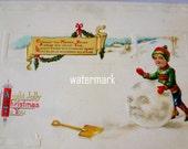 Vintage Postcard 1916 Building A Snowman Postcard Clapsaddle EMB Unposted Vintage Postcards By Vintagelady7